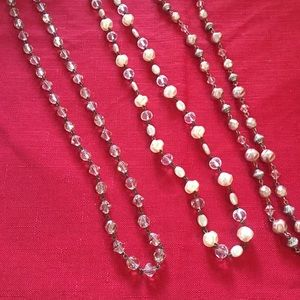"3, 22"" beaded necklaces with antique silver beads"